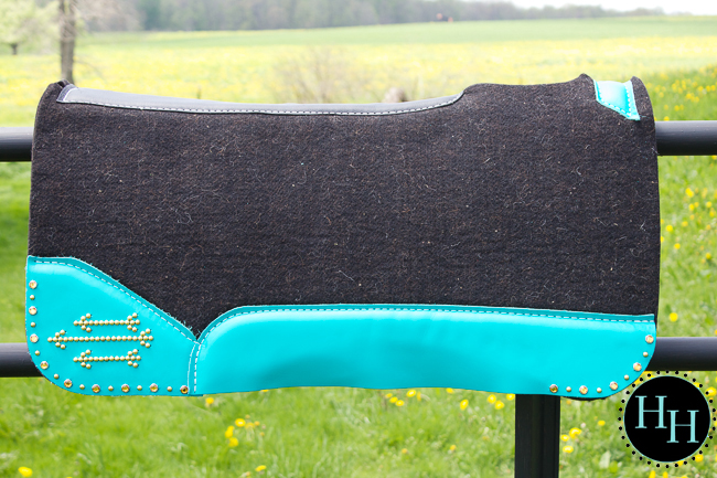 Turquoise & Gold Arrow Saddle pad designed by Horses & Heels