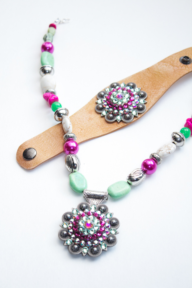 Pink and Green Concho Jewelry Set by Rodeo Envy