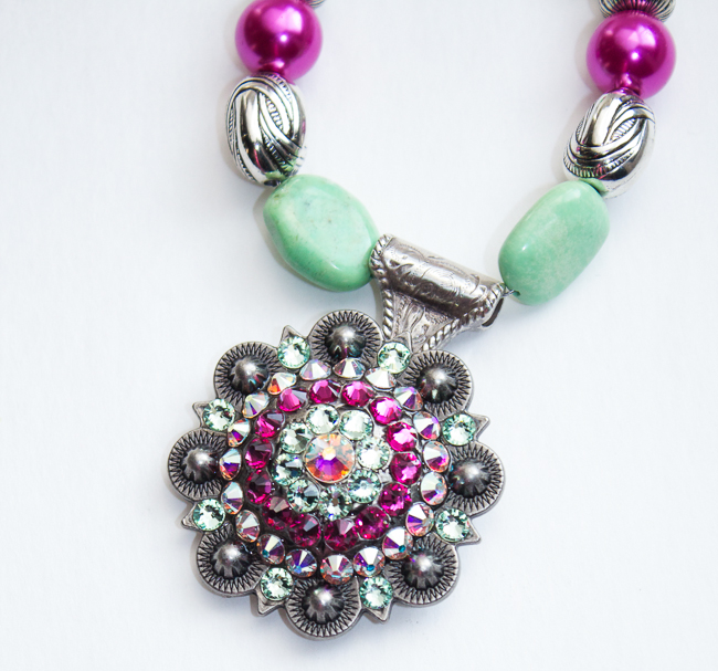 Pink and Green Concho Necklace by Rodeo Envy