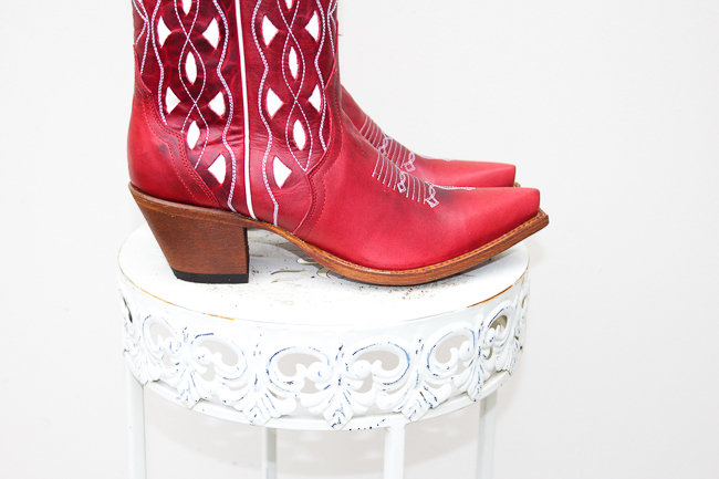 Red and White Macie Bean Cowboy Boots looking sharp
