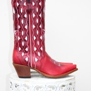 Red and White Macie Bean Cowboy Boots, side view