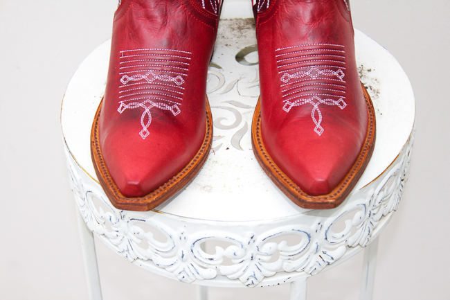 Red and White Macie Bean Cowboy Boots with snip toes