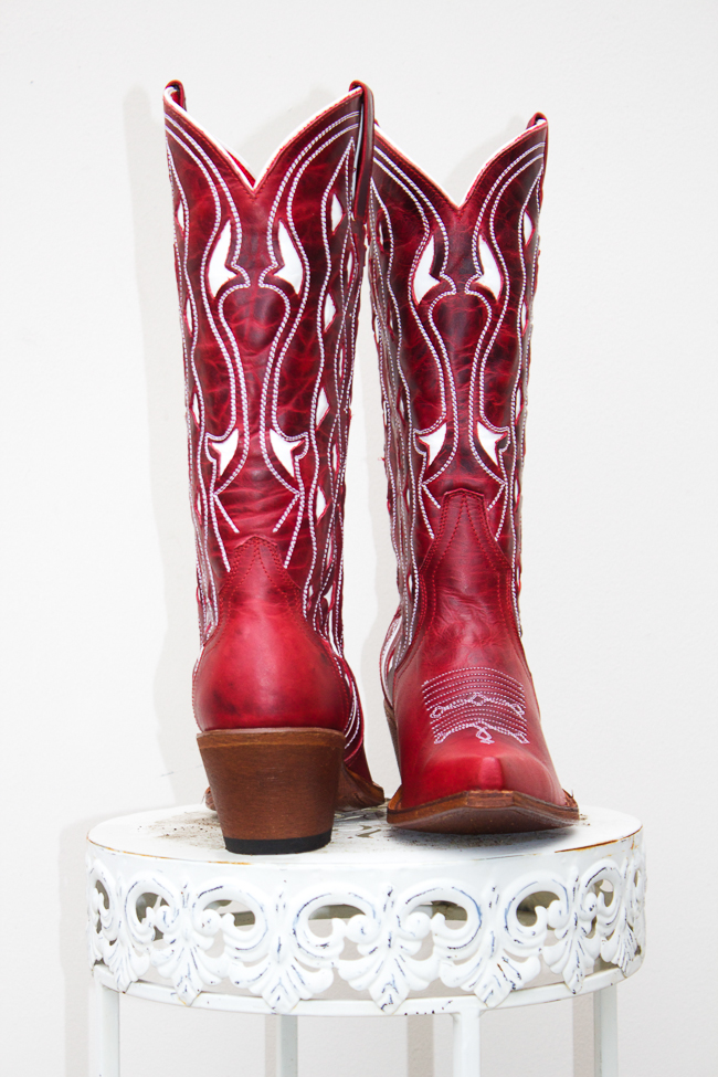 Red and White Macie Bean Cowboy Boots