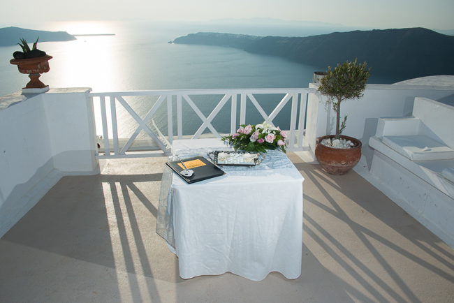Wedding table in Santorini, Greece