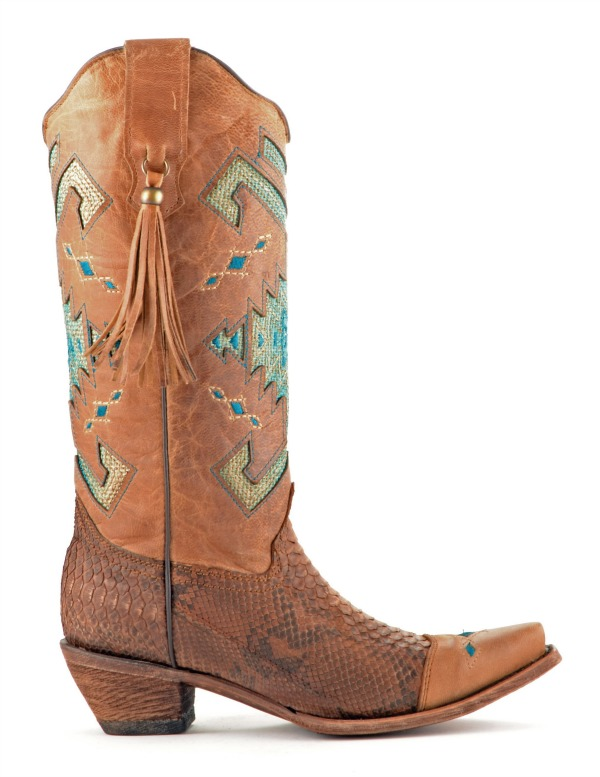 Corral Python Turquoise and Brown Cowboy Boots
