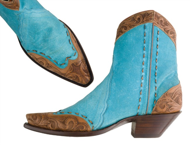 Turquoise & Tooled Ankle Boots