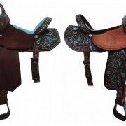 Turquoise and tooled Double J Saddles | 10 Turquoise Saddles by Double J