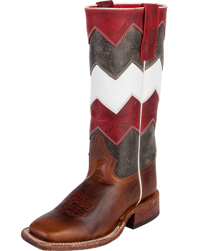 Anderson Bean Kids Black, White and Red Chevron Boots