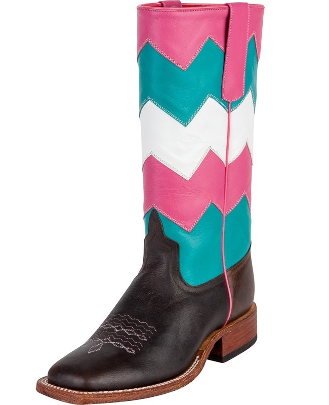 Anderson Bean Pink, Turquoise and White Chevron Cowboy Boots