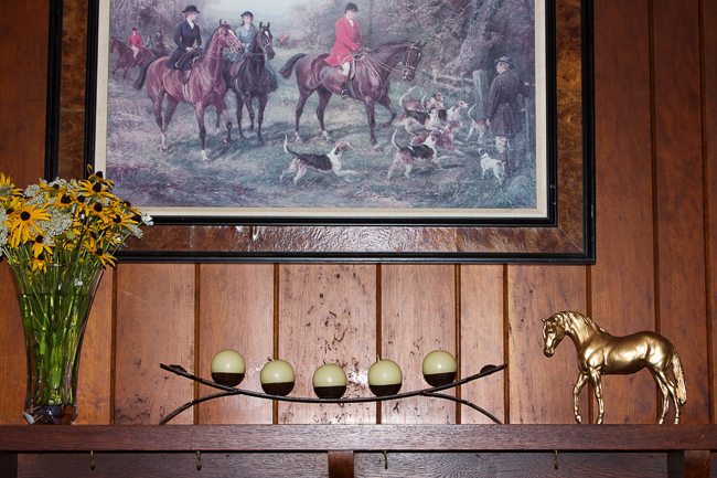 Equestrian Decor- A styled Mantle with flowers and candles