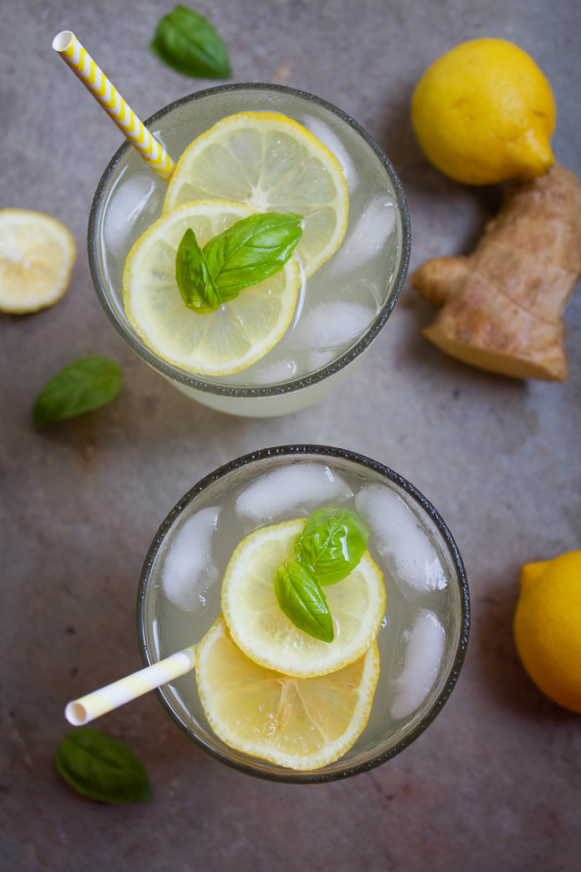 Ginger Lemonade, a traditional lemonade gets a new spin with fresh ginger root and sweet basil