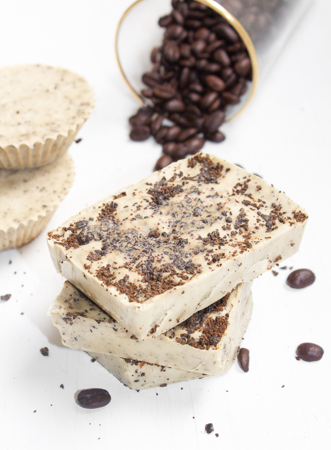Homemade Coffee Mint Soap Bars with Real Coffee Grounds
