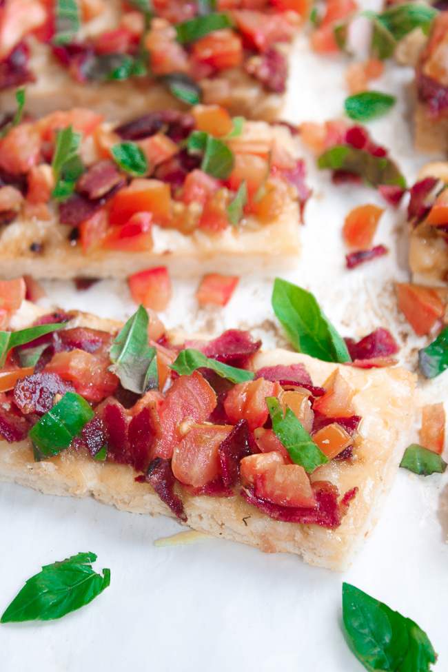 Tomato Basil Swiss Flatbread, the Honey Butter makes the recipe