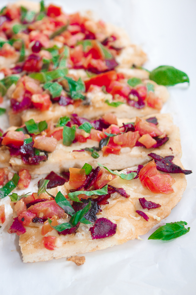 Tomato Basil Swiss Flatbread with Bacon