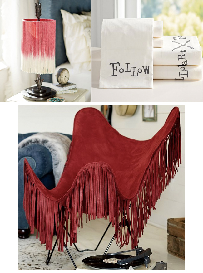 Junk Gypsy Fringe Lamp, Butterfly Chair and Follow Your Arrow Bedding
