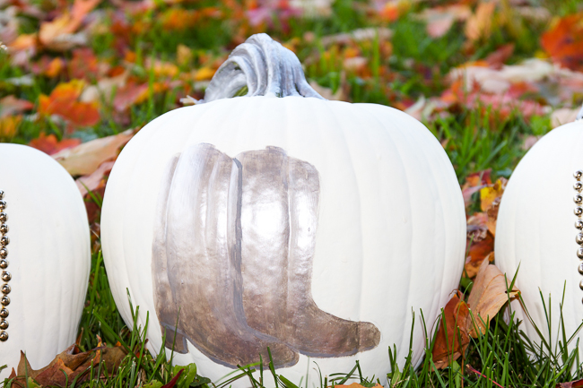 Painted Silver Cowboy Boot Pumpkins