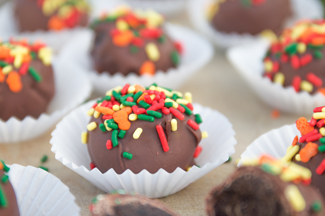 Peanut Butter Oreo Truffles with Colorful Sprinkles