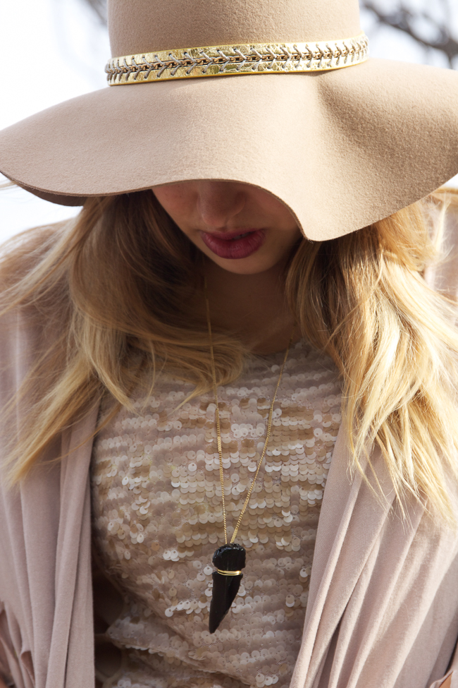 Antropologie Tan Floppy Hat, Sequin Top and Tan Poncho