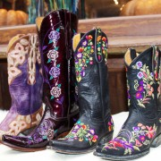 Black and purple floral Lucchese and Old Gringo cowboy boots