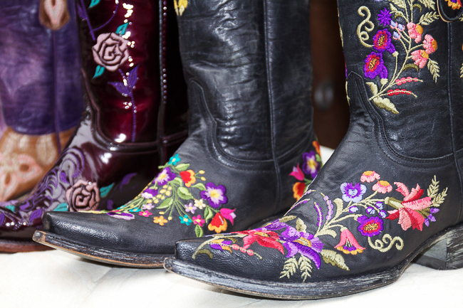 Black and purple floral cowboy boots