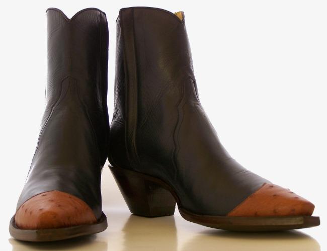 Brown Ostrich Tip Boots