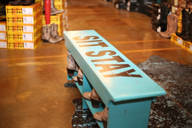 Classy CrossRoads Boutique Turquoise Bench