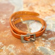 Jills Jewels Saddle Orange Leather Wrap Bracelet with 9mm Bullets