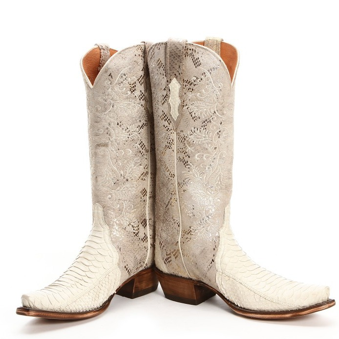 Lucchese Python Triad Shell White Cowgirl Boots