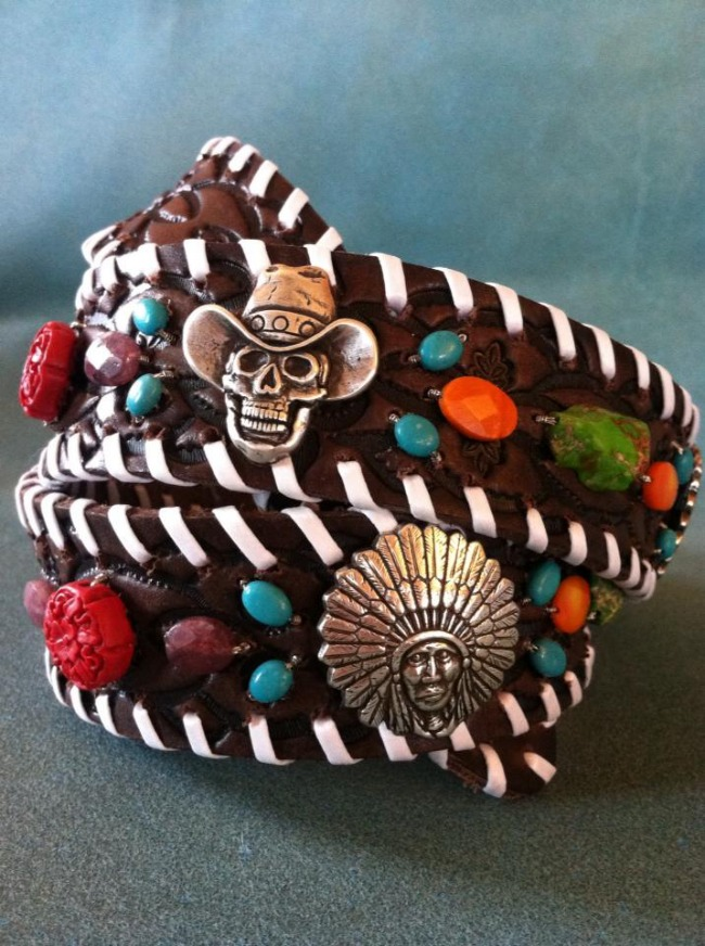 Western Dove Belt with Silver Pieces and Colorful Stones