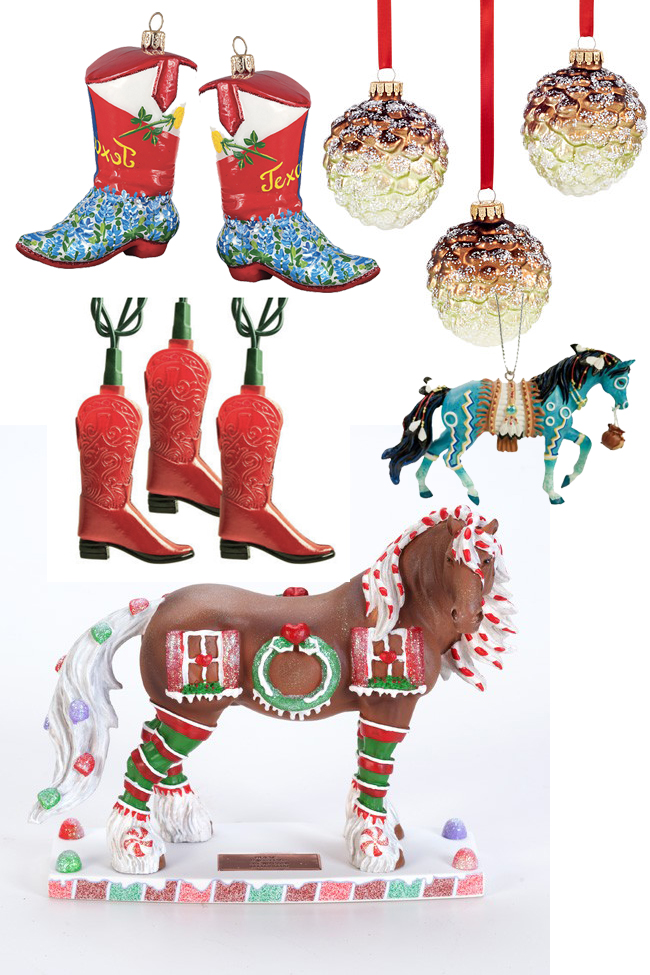 festive christmas and cowboy boot decorations horses heels
