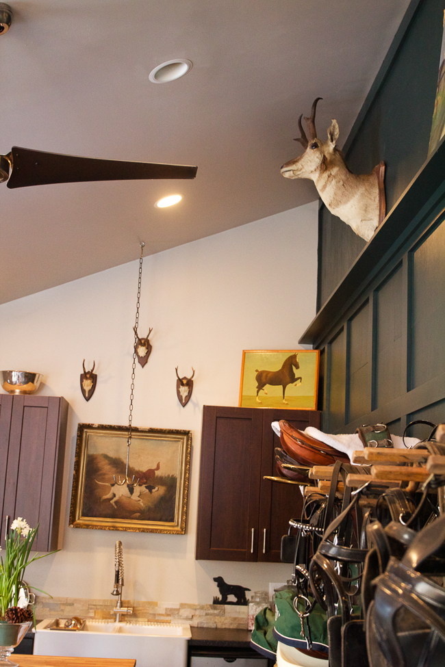 High ceilings and lovely accents frame this tack room