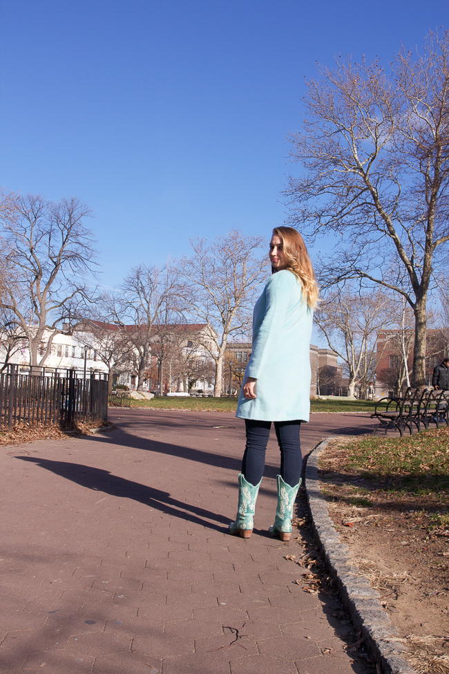 Mint coat and turquoise cowboy boots | Horses & Heels