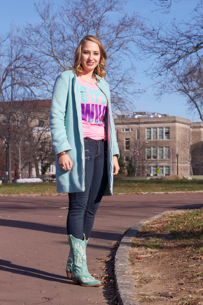 Mint coat and turquoise cowboy boots