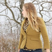 Sequined top and brown blazer