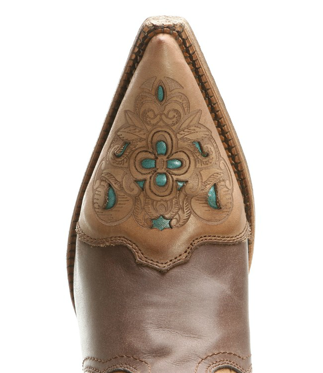 Corral Brown and Turquoise Cowgirl Boots with Snip Toes