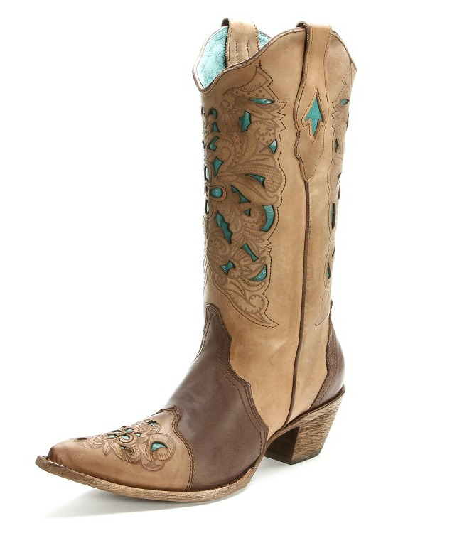 Corral Brown and Turquoise Laser Cut Cowgirl Boots
