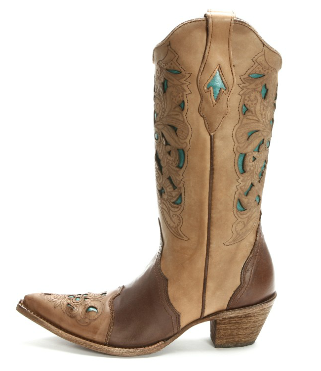 Corral Brown with Turquoise Cowgirl Boots