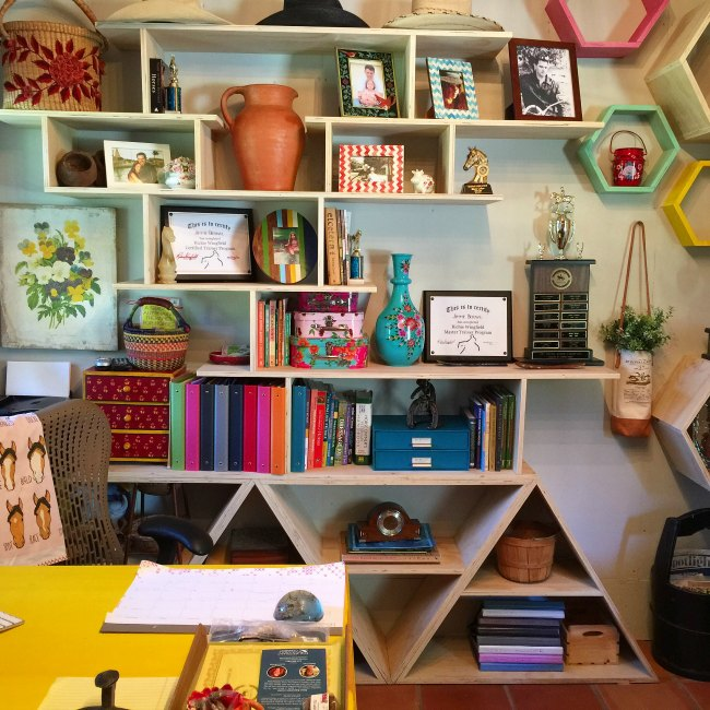 Eclectic and Colorful Barn Office at Blue Stallion Farm
