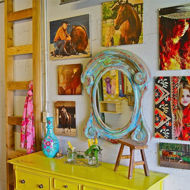 Equestrian art in the office at Blue Stallion Farm