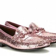 Gucci Pink Glittery Horse Bit Loafers