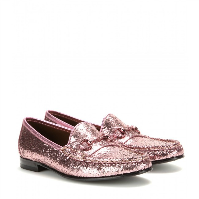 Gucci Pink Glittery Loafers