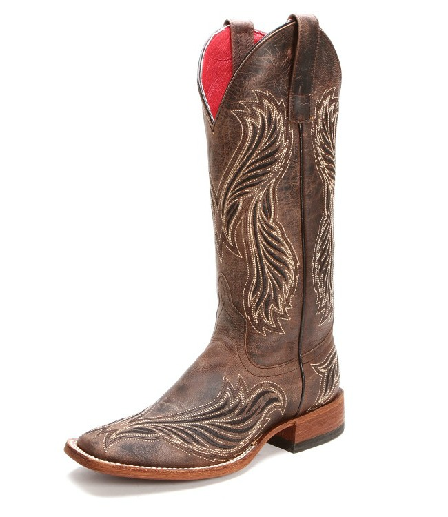 Macie Bean Brown Embroidered Square Toe Cowgirl Boots