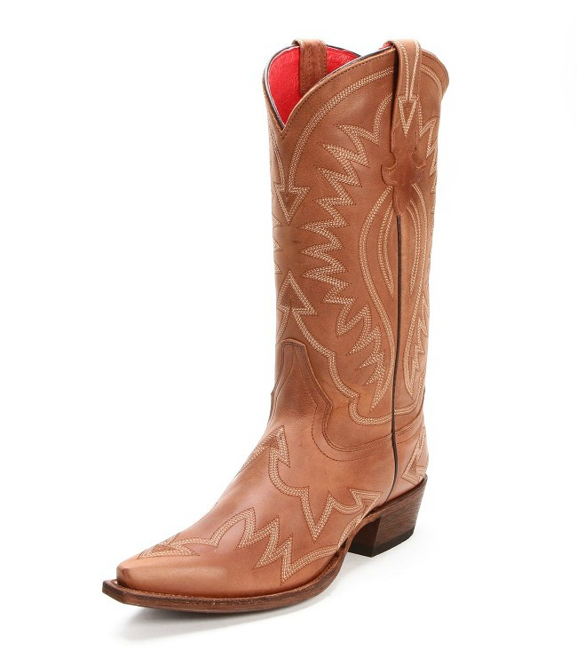 Macie Bean Brown Stitched Cowgirl Boots with Snip Toes