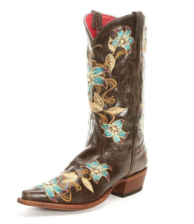 Macie Bean Floral Snip Toe Cowgirl Boots