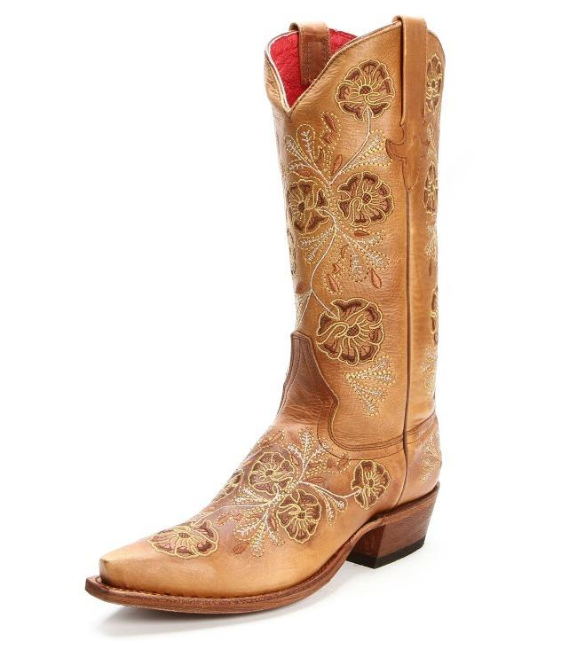 Macie Bean Floral Tan Cowgirl Boots