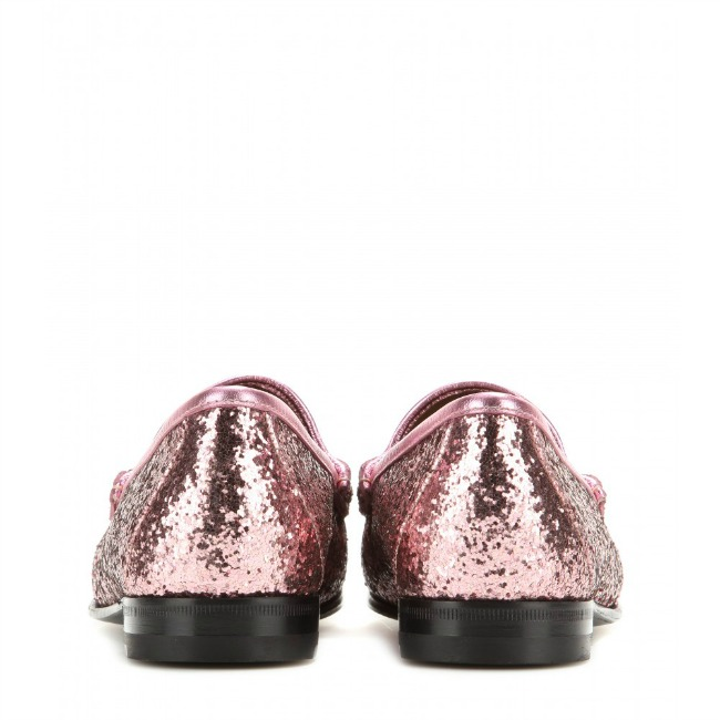 Pink Glittery Gucci Loafers