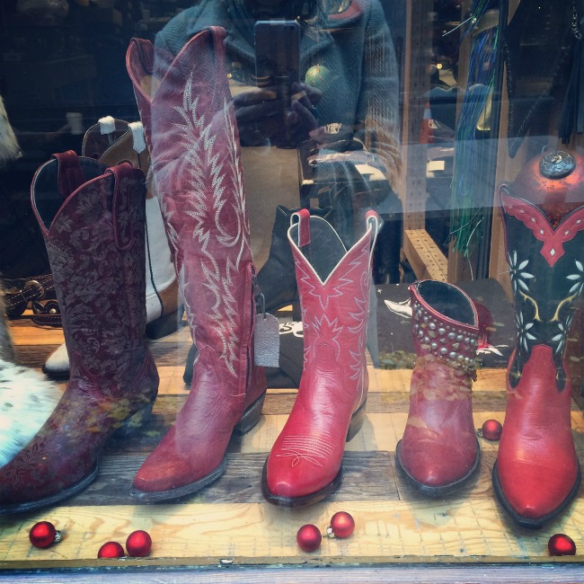 Red Cowboy Boot Display for Christmas