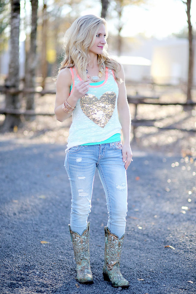 Turquoise heart tank and turquoise cowboy boots