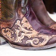 Brown Carved Leather Cowboy Boots