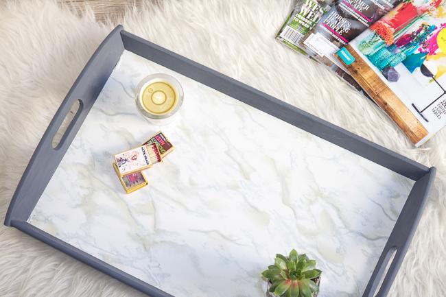 DIY Easy Faux Marble IKEA Tray
